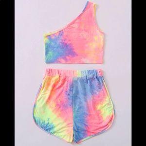 Tie dye short set  🌈